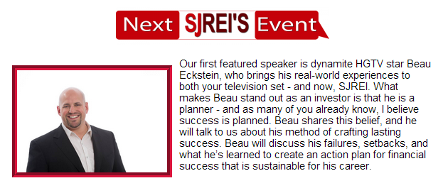 Featured guest speaker at the SJ REI Voice meeting in July 2014